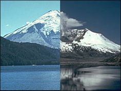 In this picture, it shows Mt. St Helens before and after it erupted. As you can see, the eruption blew apart the mountain, lowering it several hundred feet. -- Tej Joshi
