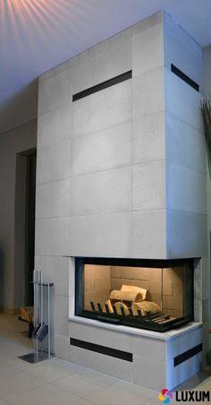 Znalezione obrazy dla zapytania nowoczesny kominek z miejscem na drewno beton