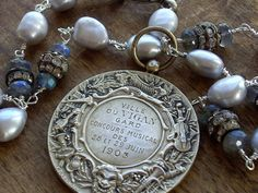 French Sterling Silver Antique Art Medal Pearls by WhatOnceWas, $365.00