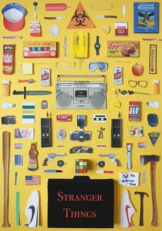Stranger Things poster by Jordan Bolton. Made by recreating original objects from the tv series. poster in the 'Objects' series. Stranger Things Aesthetic, Miss Moss, Stranger Things Netflix, Poster S, Print Poster, Art Print, Minimalist Poster, Film Posters, Favorite Tv Shows