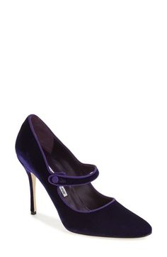 Free shipping and returns on Manolo Blahnik 'Campy' Velvet Pump (Women) (Nordstrom Exclusive Color) at Nordstrom.com. The lush purple velvet of this striking mary jane pump is so rich and decadent, it almost seems to glow. Coordinating grosgrain trim traces the topline for an enchanting finish.