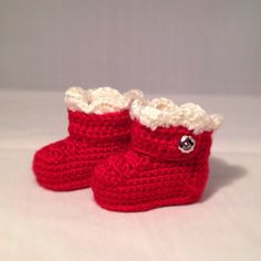 Decadent Deep Red and Cream Baby Boots by busyhermits on Etsy Handmade Baby Items, Handmade Gifts, Crochet For Kids, Knit Crochet, Baby Boots, Deep, Cream, Knitting, Trending Outfits