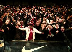 Jubilant Arsenal fans celebrate at the Etihad Stadium. Arsenal Football, Arsenal Fc, Professional Football, North London, Fa Cup, Manchester City, Premier League, Red And White, 18th