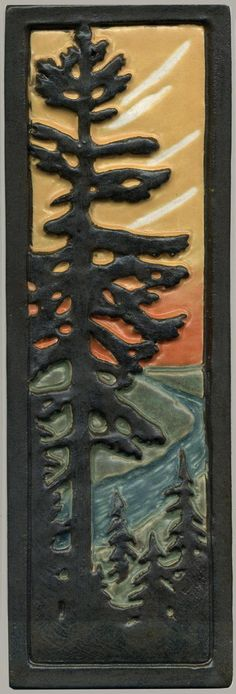 "Craftsman Style Art Tile Solitary Fir / Pine Tree with River at Sunset 12"" H by…"