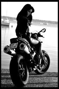 B & W.   girl on motorcycle