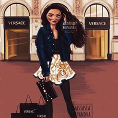 Moana at Versace Disney Princess Fashion, Disney Princess Frozen, Disney Princesses, Cartoon Girl Drawing, Girl Cartoon, Disney Girls, Disney Art, Animated Christmas Wallpaper, Modern Day Disney