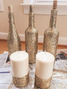 64 Super Ideas For Country Bridal Shower Decorations Center Pieces Wine Bottles Glitter Wine Bottles, Glitter Candles, Bridal Shower Prizes, Wine Bottle Candles, Wine Glass, Candle Store, Bridal Shower Rustic, Diy Centerpieces, Bridal Shower Decorations