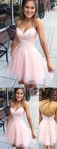 2017 short homecoming dress, short pink homecoming dress, spaghetti straps short homecoming dress