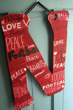 Peace Love 'N' FootballLarge Letter N Nebraska by tadaworkshop, $38.00 Omaha, NE www.tadaworkshop.com