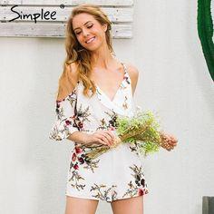 Cold Shoulder Casual Ruffles Print Jumpsuit Romper Strap V Neck Backless Summer