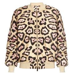 Givenchy Jaguar-print padded bomber jacket ($1,182) ❤ liked on Polyvore featuring outerwear, jackets, satin bomber jacket, padded jacket, print jacket, polka dot jacket and flight jacket