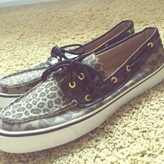 Sperry Top - Sider Cheetah Print Worn only once inside home, basically brand new. Super fun cheetah print with black patent details. The shoes have a smaller cheetah print up top on the tongue and a larger print everywhere else! Shoes are in women's size 11 Sperry Top-Sider Shoes Flats & Loafers