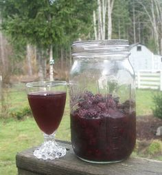 Homemade Blackberry Liqueur!  For one quart sized jar:  Fill 3/4 of jar with fruit. Add one cup of vodka. If you like it strong, add more vodka. Add one cup sugar. This is for a liqueur, a sweet drink.  (You can also just mix berries and vodka, for a fruit-infused liquor.)  Add a few inches of water, then put on the lid. Give it a few good shakes, store it in the fridge. Every few days, shake it up some more. Wait a month, then strain it and bottle it up!