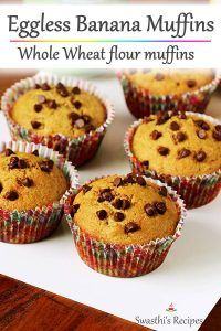 Eggless Recipes, Eggless Baking, Easy Cake Recipes, Muffin Recipes, Cupcake Recipes, Baking Recipes, Gourmet Cupcakes, Eggless Banana Muffins, Banana Cupcakes