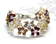 Swarovski Crystal Bracelet, Sweet Neutral Brown Multiflora Swarovski Crystals Bracelet by CandyBead