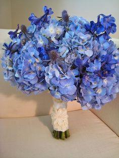 BEAUTIFUL Blue Wedding Bouquet: Hydrangea, Eryngium Thistle & Delphinium
