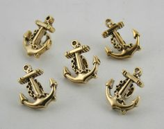 12 pcs. Gold Vintage Anchors Buttons Sewing Buttons Shank 13 mm.  #Pekinesis