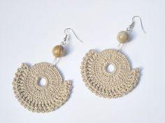 Crochet earrings beaded beige - Hot cappuccino -OOAK - handmade finished products - pale brown beige. $15,00, via Etsy.
