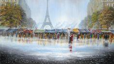 Malarstwo, Obraz, Deszcz, Ludzie, Ulica, Wieża, Eiffla