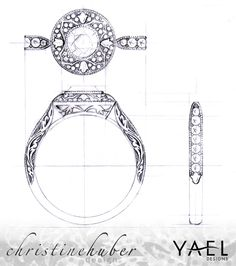 Bridal Delights: Q&A with Christine Huber, Designer of Yael's Novelique Collection Design rendering by Christine Huber of Novelique engagement ring style 09284
