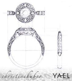 Design rendering by Christine Huber of Novelique engagement ring style 09284 • Image courtesy of Yael Designs