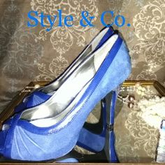 """Colbalt Blue Peeps Beautiful blue with suede & paten leather. 4"""" heel. Style & Co Shoes Heels"""