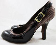 MODERN VINTAGE PUMPS Brown Lizard Skin & Patent Leather WOODEN HEELS 39/8.5 9 #ModernVintage #PumpsClassics