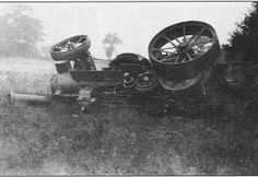 During the summer of 1936, an unfortunate accident occurred with the ploughing tackle. On a farm at Combs near Stowmarket, a mole drainer became entangled with a stubborn tree root, which dragged the engine over on its side, smashing the chimney, the flywheel and, more importantly, the safety valve on the steam chest