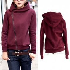 I want this hoodie!! Love the angled zipper, it makes it look so wrappy/cozy.