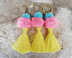 """Items similar to Pom Pom and Tassel """"Unicorn"""" Keychain Bag Charm / LargeTassel Key Chain / Bag Charm Accessories/ Lobster Clasp Keyring Keychain on Etsy Handmade Jewelry, Unique Jewelry, Handmade Gifts, Ss16, Tassel Necklace, Tassels, Dangles, Jewelry Accessories, Projects To Try"""