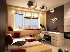 Interior Design, Red Cushion Black Cushion Table Lamp White Sheet Desk Table Cream Wall Brown Laminate Wall Chrome Concrete Lamps Cream Wooden Floor And Teen Room ~ Comfortable Home Interior Design: Decorate Your Ceiling with Lighting