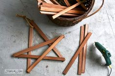 Hot glue the firewood kindling / Make wooden Christmas stars in minutes! By Funky Junk Interiors for Ebay
