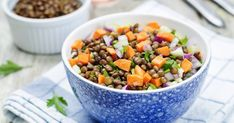 Warm Lentil Salad With Roasted Root Veggies. Lentils and sweet root vegetables make a hearty main-dish salad. Summer Salad Recipes, Summer Salads, Healthy Summer, Plant Based Protein, Plant Based Diet, Vegan Protein Sources, Dog Food Recipes, Healthy Recipes, Fitness Blogs