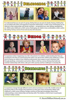 Belonging Being Becoming - Portfolio - Aussie Childcare Network Toddler Activities Daycare, Childcare Activities, Educational Activities, Early Childhood Education Degree, Early Education, Child's Play Quotes, Eylf Learning Outcomes, Learning Stories Examples, Aussie Childcare Network