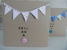 Handmade New Baby Greetings Card with Bunting. £2.00, via Etsy.