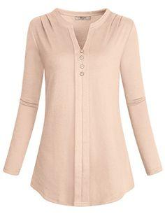 Miusey Women's Notch V Neck Long Sleeve Pleat Knit Henley Tunic Shirt Kurta Designs, Blouse Designs, Women's Henley, Tunic Shirt, Tunic Tops, Kurta Neck Design, Petite Tops, Blouse And Skirt, Weekend Wear