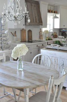 distressed and whitewashed kitchen furniture