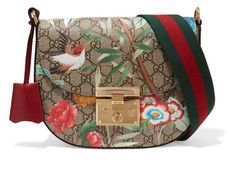 Gucci Padlock Medium Coated-canvas And Textured-leather Shoulder Bag In Brown Patterned Beige Shoulder Bags, Gucci Shoulder Bag, Shoulder Handbags, Leather Shoulder Bag, Gucci Purses, Purses And Handbags, Gucci Handbags, Brown Handbags, Gucci Bags