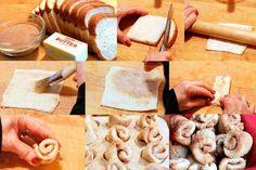 Pão de forma,manteiga, açúcar e canela  aquecer 5 mins no forno