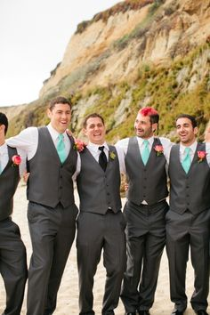 Beach wedding groom style... all the guys in turquoise ties except the groom! // image: Jennifer Wilson Photography