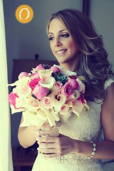 #Amazingly beautiful...Vintage bridal bouquet...Shades of pink with succulent bridal bouquet...Wedding flowers... Simple wedding makeup