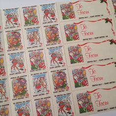 Vintage Christmas Seal Stamps  1988  American by SuburbanVintage