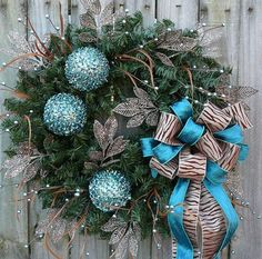 Got holiday fever? Etsy probably won't help you suppress it, with all the unique holiday wreaths they've got for sale! Christmas Swags, Elegant Christmas, Blue Christmas, Holiday Wreaths, All Things Christmas, Holiday Crafts, Christmas Time, Christmas Decorations, Christmas Ideas