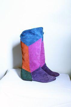 60s color block boots