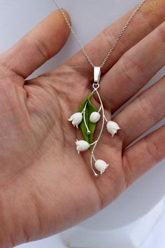 Lily of the valley pendant, silver 925 spring gift jewelry, pendant with chainlet by Jewellrylimanska on Etsy