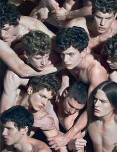 "Adrian Cardoso, Alex Pierce, Cristi Isofii, Gabriel Shinel, Marin and Vitan in Givenchy, Calvin Klein, Raf Simons, Dolce & Gabbana and Saint Laurent in editorial ""Attack Art"" Fucking Young! Photography by Luca Finotti"