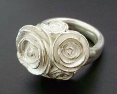A Bouquet of Peonies - Handsculpted, Cast Sterling Silver Ring