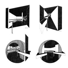 Mikhail Beilin, Interiors of Konstantin Melnikov Museum in Moscow (Sketches), 2015, Ink and marker.