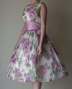 1950s Party Dress / Vintage dress / Easter / Bridesmaid by Angie09, $250.00  Style satin black or red