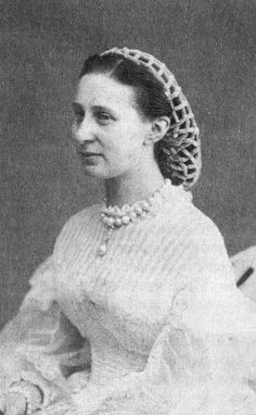 "ca. 1865 Alexandra Iosifovna... I pin this ONLY to demonstrate the chenille ""snood"" (note, not lunch lady... but a decorative element over fashioned hair)"